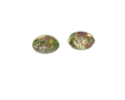 16mm Light Gold Floral Handmade Lampwork Glass Beads, 5 beads - Click Image to Close