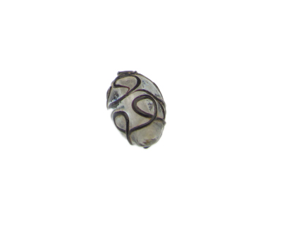 26 x 18mm Black Pattern Oval Lampwork Glass Bead
