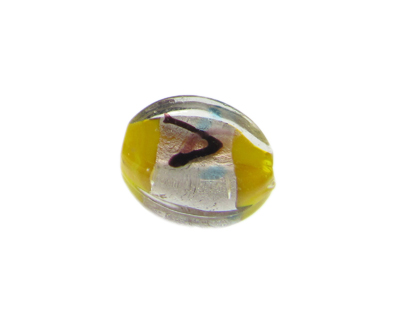 28 x 24mm Yellow Pattern Lampwork Glass Bead