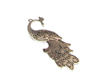 60 x 20mm Peacock Silver Metal Pendant