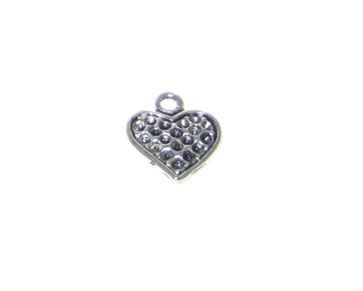 14mm Silver Heart Charm - 6 charms, fits 2mm rhinestone - Click Image to Close