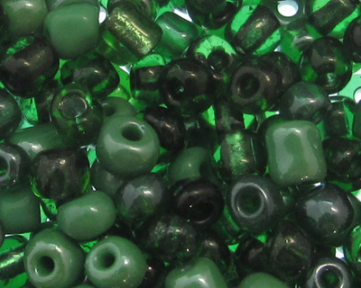 6/0 Green (All Types) Glass Seed Bead Mix, 1 oz.