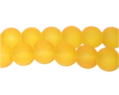 10mm Yellow Sea/Beach-Style Glass Bead, approx. 22 beads