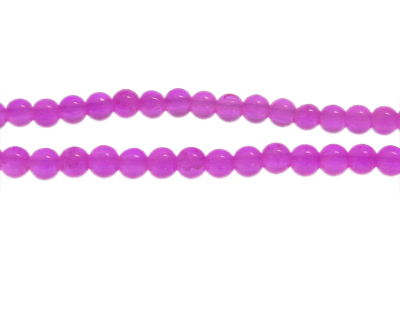 6mm Magenta Gemstone-Style Glass Bead, approx. 72 beads