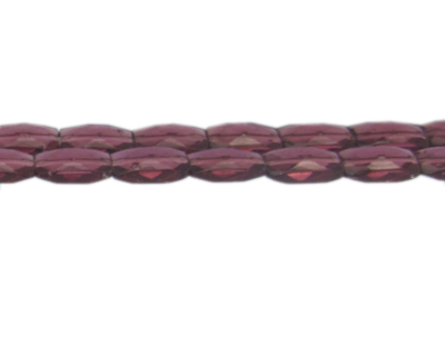 "14 x 10mm Plum Faceted Rectangle Glass Bead, 13"" string"