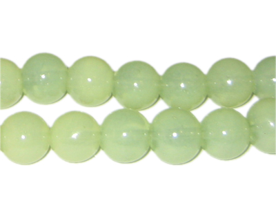 12mm Pistachio Jade-Style Glass Bead, approx. 18 beads - Click Image to Close