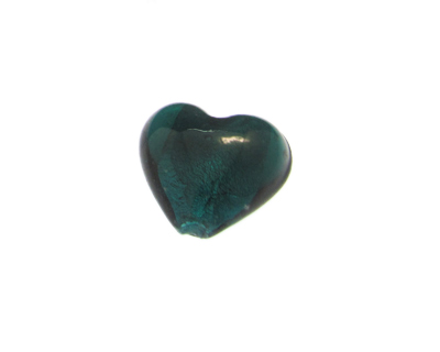 28mm Aqua Foil Heart Lampwork Glass Bead, 2 beads