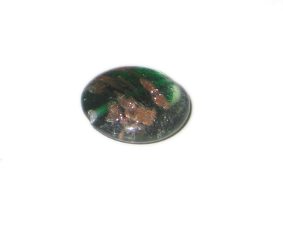 28mm Green Pattern Foil Handmade Lampwork Glass Bead - Click Image to Close