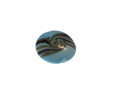 28mm Turquoise Pattern Lampwork Glass Bead