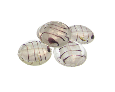 26mm Crystal Foil Striped Lampwork Glass Bead, 5 beads