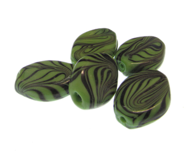 30 x 22mm Green Striped Oval Lampwork Glass Bead, 5 beads