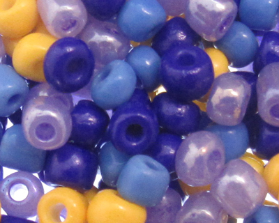 6/0 Purple/Yellow Opaque Glass Seed Bead Mix, 1 oz.