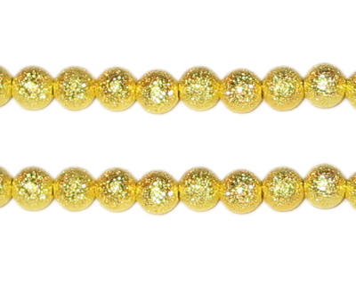 "6mm Gold Round Stardust Brass Bead - 8"" String"