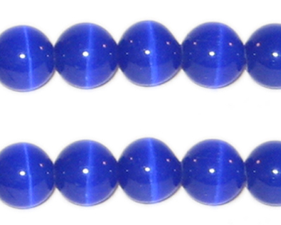 "10mm Navy Round Cat's Eye Beads, 4"" String"