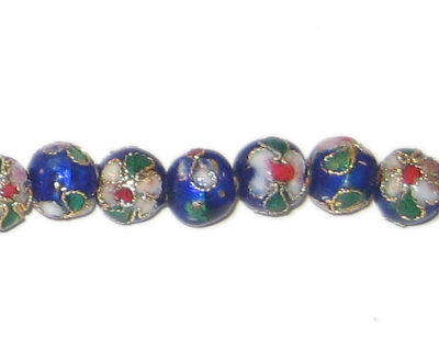 8mm Blue Round Cloisonne Bead, 7 beads