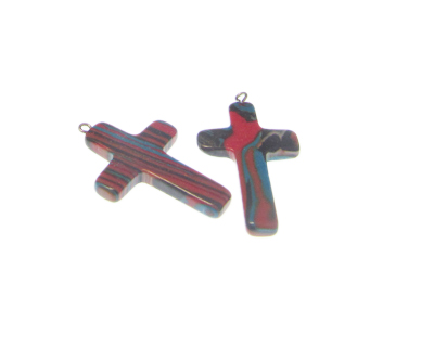 30 x 20mm Red Synthetic Malachite Cross, with bail