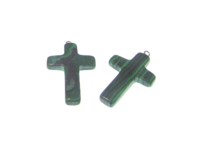 30 x 20mm Green Synthetic Malachite Cross, with bail