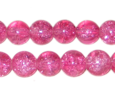 "10mm Fuchsia Round Crackle Glass Bead,app.21beads 8"" string"
