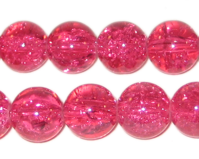 "12mm Fuchsia Round Crackle Bead, 8"" string, approx. 18 beads"