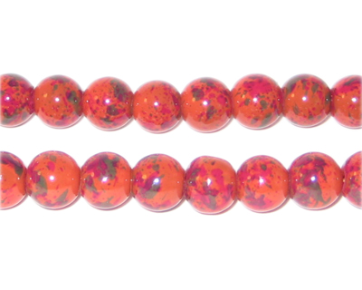 8mm Marbled Rust Spot Coated Glass Bead, approx. 52 beads