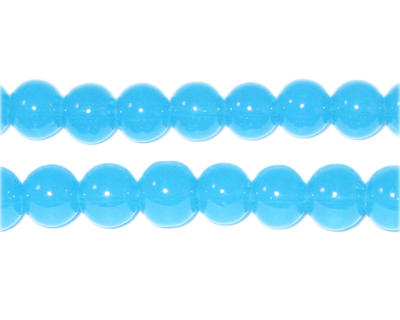 8mm Pale Turquoise Jade-Style Glass Bead, approx. 55 beads