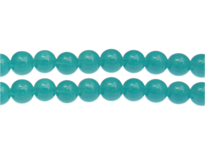 12mm Aquamarine Jade-Style Glass Bead, approx. 17 beads