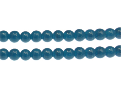 10mm Steel Blue Jade-Style Glass Bead, approx. 21 beads
