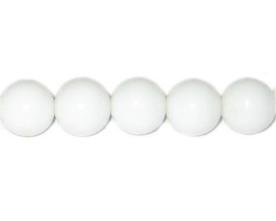 "12mm White Faceted Glass Bead, 16"" string"