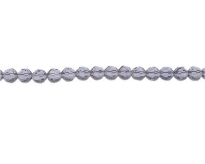 "6mm Light Purple Faceted Round Glass Bead, 13"" string"