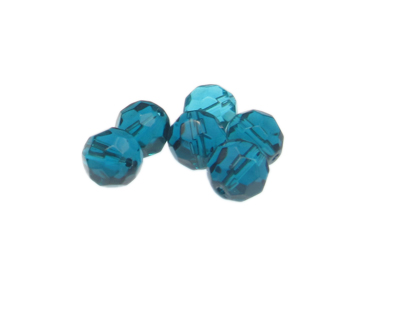 12mm Turquoise Faceted Glass Bead, 6 beads