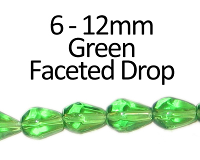 "6 - 12mm Green Faceted Glass Drop Bead, 13"" string"
