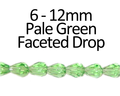 "6 - 12mm Pale Green Faceted Glass Drop Bead, 13"" string"