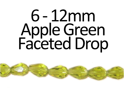 "6 - 12mm Apple Green Faceted Glass Drop Bead, 13"" string"