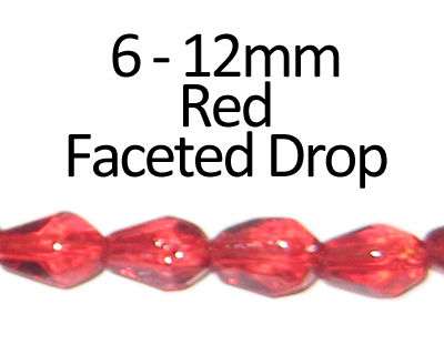 "6 - 12mm Red Faceted Glass Drop Bead, 13"" string"