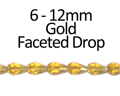 "6 - 12mm Gold Faceted Glass Drop Bead, 13"" string"