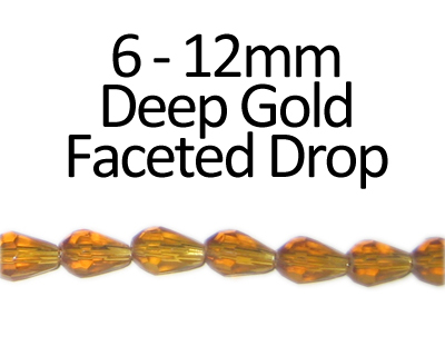 "6 - 12mm Deep Gold Faceted Glass Drop Bead, 13"" string"