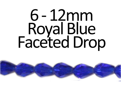 "6 - 12mm Royal Blue Faceted Glass Drop Bead, 13"" string"