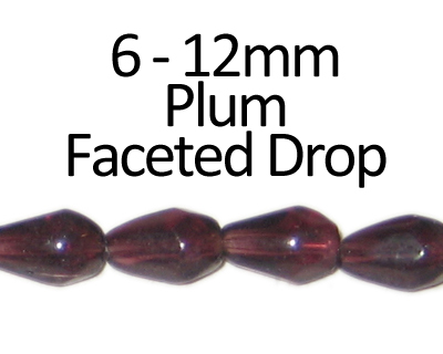 "6 - 12mm Plum Faceted Glass Drop Bead, 13"" string"