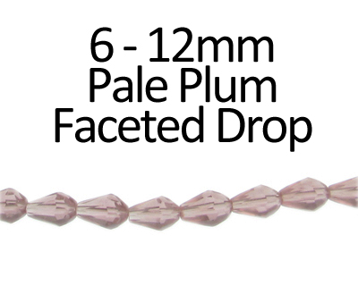 "6 - 12mm Pale Plum Faceted Glass Drop Bead, 13"" string"