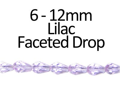 "6 - 12mm Lilac Faceted Glass Drop Bead, 13"" string"