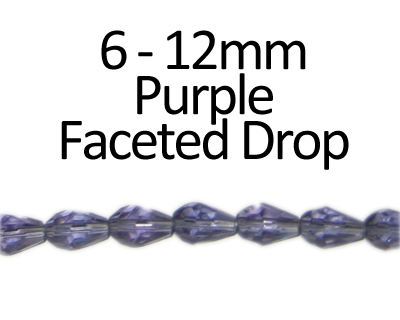 "6 - 12mm Purple Faceted Glass Drop Bead, 13"" string"