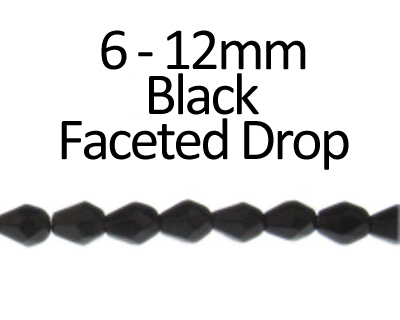"6 - 12mm Black Faceted Glass Drop Bead, 13"" string"