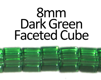 "8mm Dark Green Faceted Glass Cube Bead, 13"" string"
