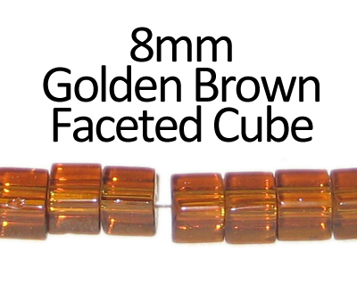 "8mm Golden Brown Faceted Glass Cube Bead, 13"" string"