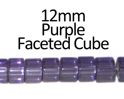 "12mm Purple Faceted Glass Cube Bead, 13"" string"