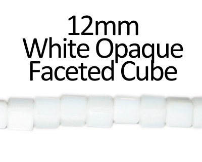 "12mm White Faceted Glass Cube Bead, 13"" string"