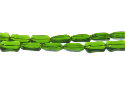 "14 x 10mm Apple Green Pressed Glass Bead, 13"" string"