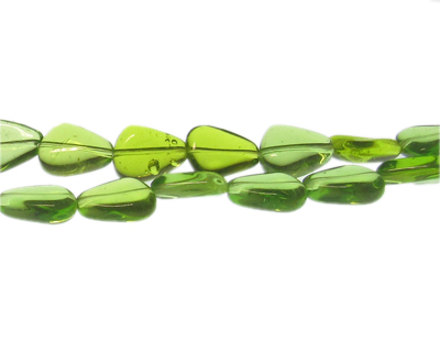 "14 x 12mm Apple Green Drop Pressed Glass Bead, 13"" string"