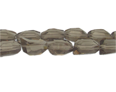"18 x 14mm Silver Faceted Polygon Glass Bead, 13"" string"