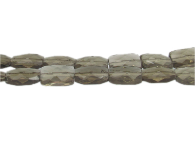 "14 x 10mm Silver Faceted Rectangle Glass Bead, 13"" string"